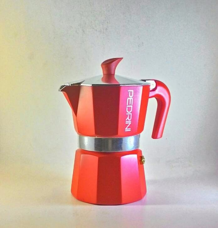 Pedrini Aroma Color Red Moka Pot Coffee Maker for 3 Cups