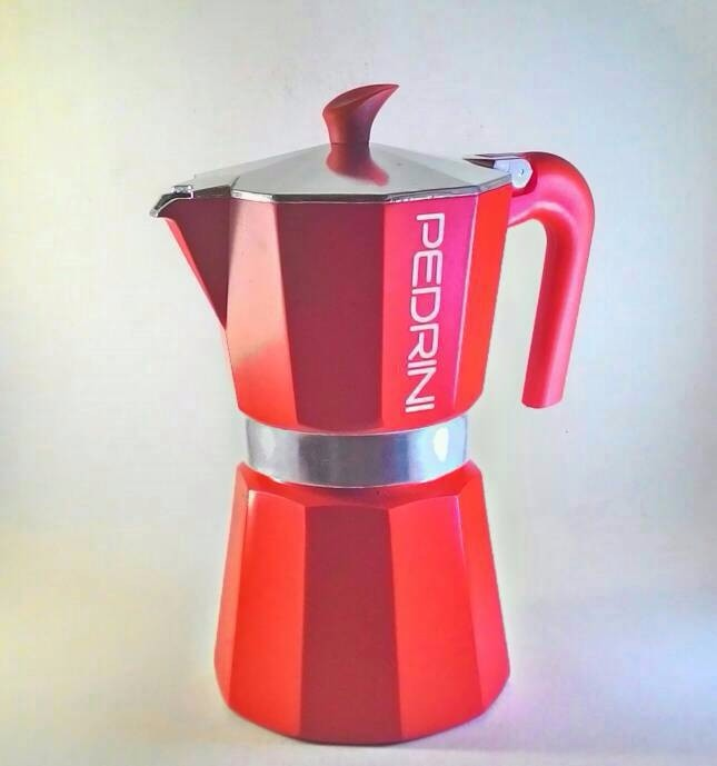 Pedrini Aroma Color Red Moka Pot Coffee Maker for 6 Cups